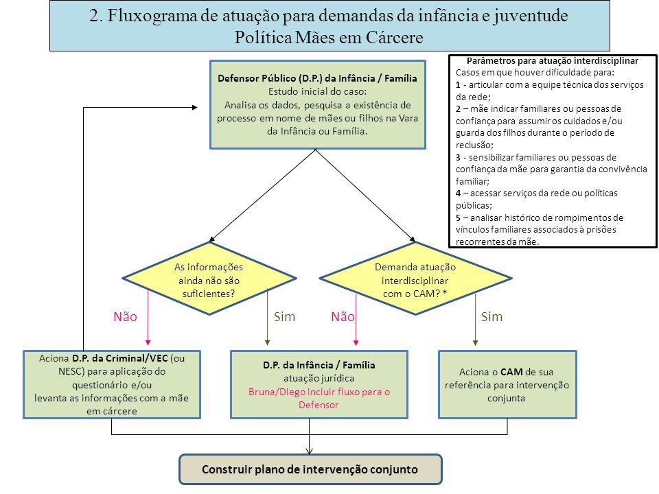 2. Fluxograma de atuação para demandas da infância e juventude Política Mães em Cárcere Defensor Público (D.P.) da Infância / Família Estudo inicial d