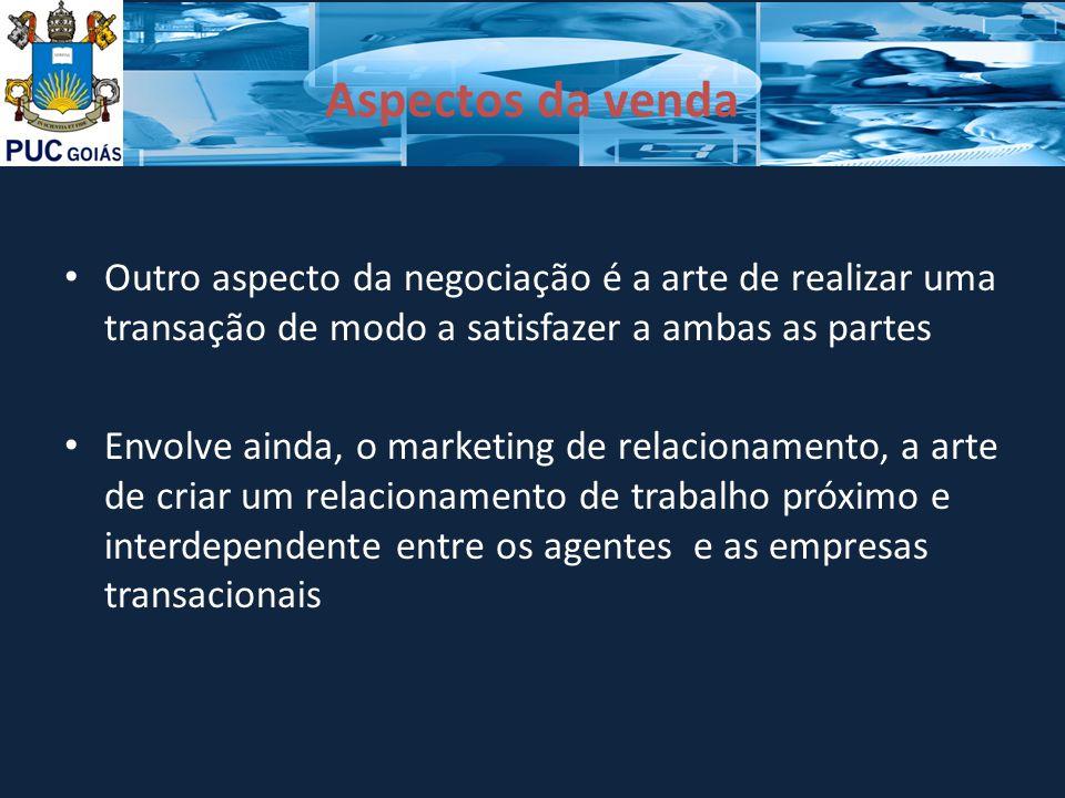Aspectos da venda Outro aspecto da negociação é a arte de realizar uma transação de modo a satisfazer a ambas as partes Envolve ainda, o marketing de