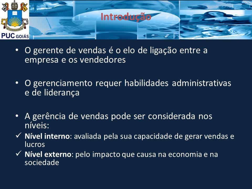 Introdução O gerente de vendas é o elo de ligação entre a empresa e os vendedores O gerenciamento requer habilidades administrativas e de liderança A