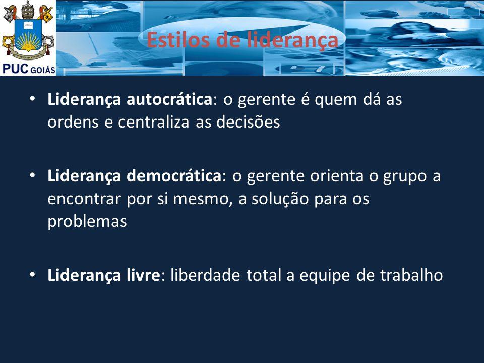 Estilos de liderança Liderança autocrática: o gerente é quem dá as ordens e centraliza as decisões Liderança democrática: o gerente orienta o grupo a