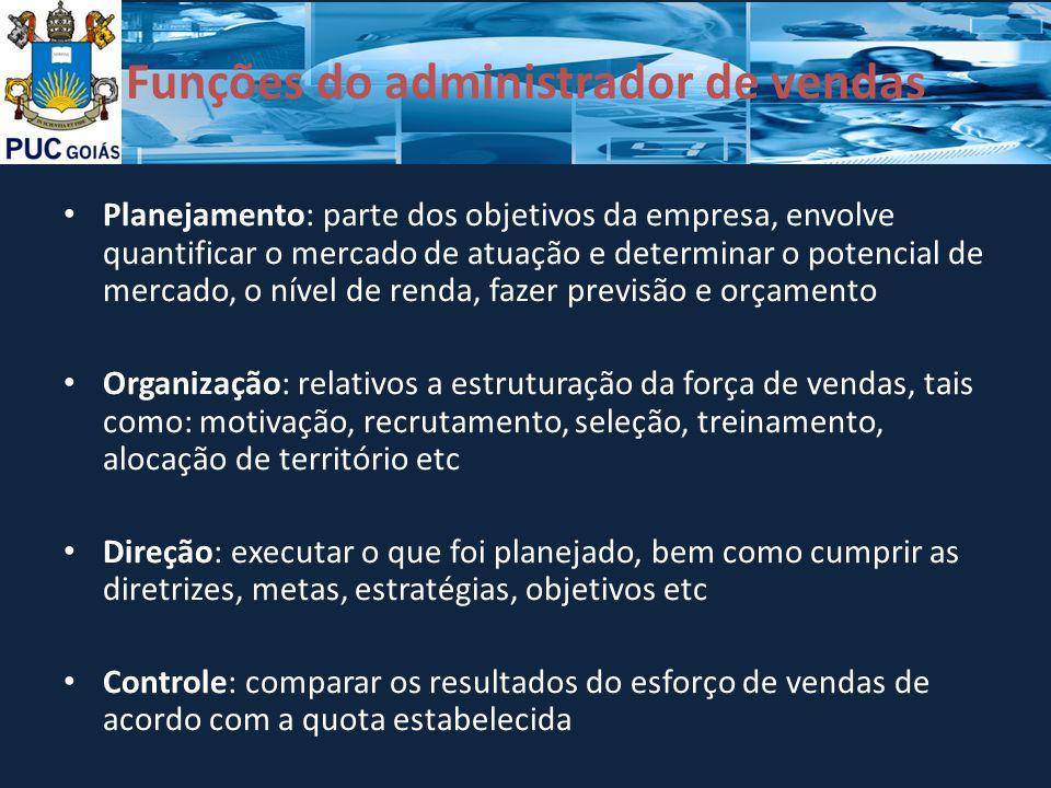 Funções do administrador de vendas Planejamento: parte dos objetivos da empresa, envolve quantificar o mercado de atuação e determinar o potencial de