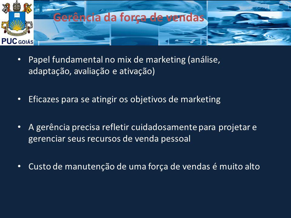 Gerência da força de vendas Papel fundamental no mix de marketing (análise, adaptação, avaliação e ativação) Eficazes para se atingir os objetivos de