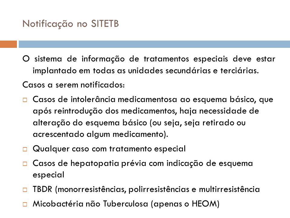 Notificação no SITETB O sistema de informação de tratamentos especiais deve estar implantado em todas as unidades secundárias e terciárias. Casos a se