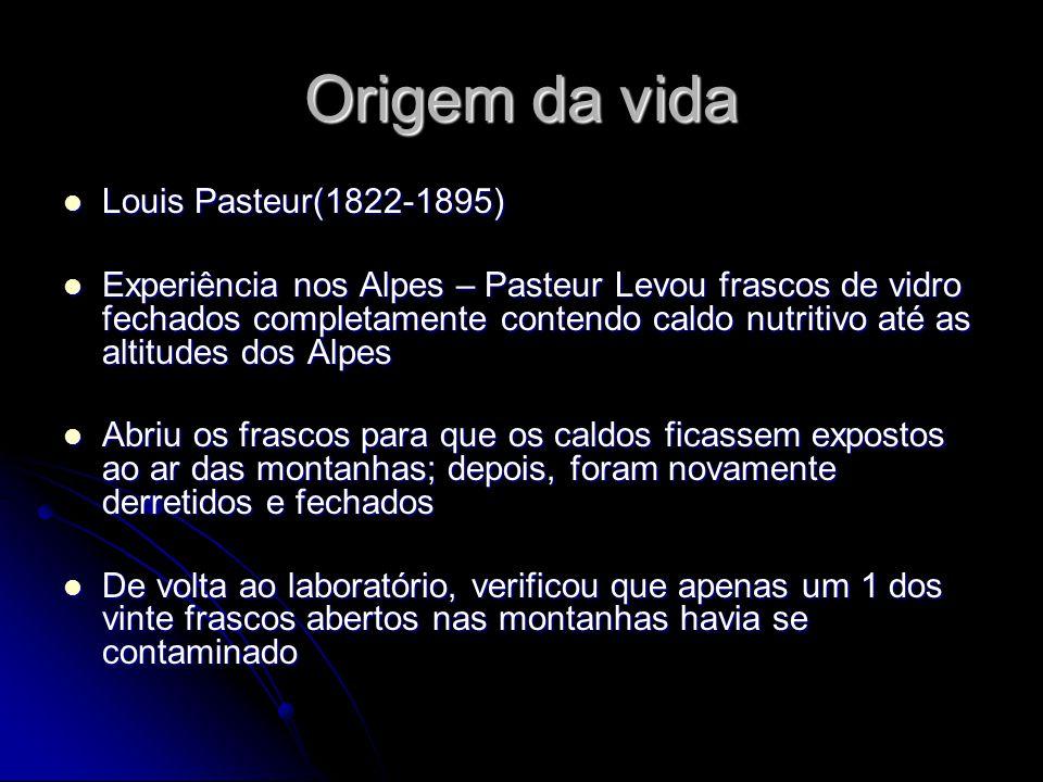 Origem da vida Louis Pasteur(1822-1895) Louis Pasteur(1822-1895) Experiência nos Alpes – Pasteur Levou frascos de vidro fechados completamente contend