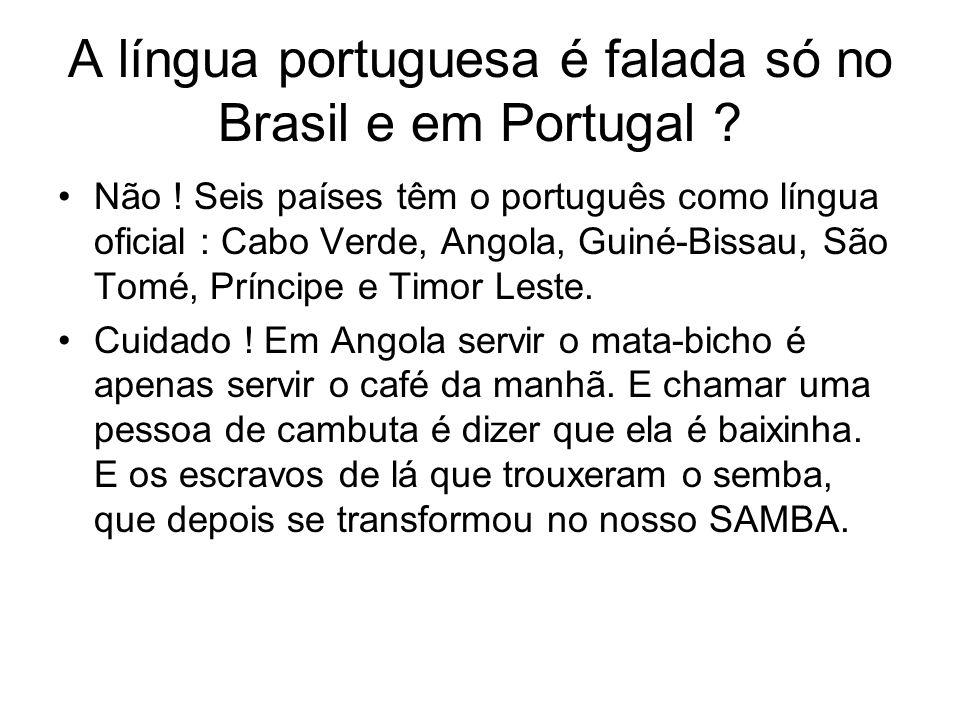 A língua portuguesa é falada só no Brasil e em Portugal ? Não ! Seis países têm o português como língua oficial : Cabo Verde, Angola, Guiné-Bissau, Sã