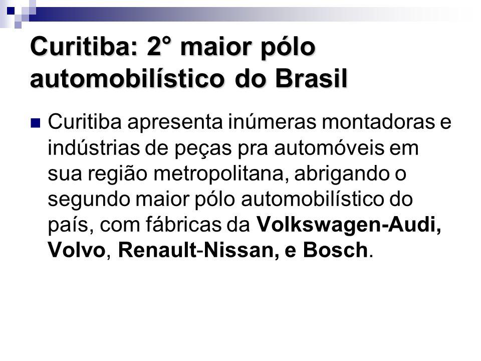 Curitiba: 2° maior pólo automobilístico do Brasil Curitiba apresenta inúmeras montadoras e indústrias de peças pra automóveis em sua região metropolit