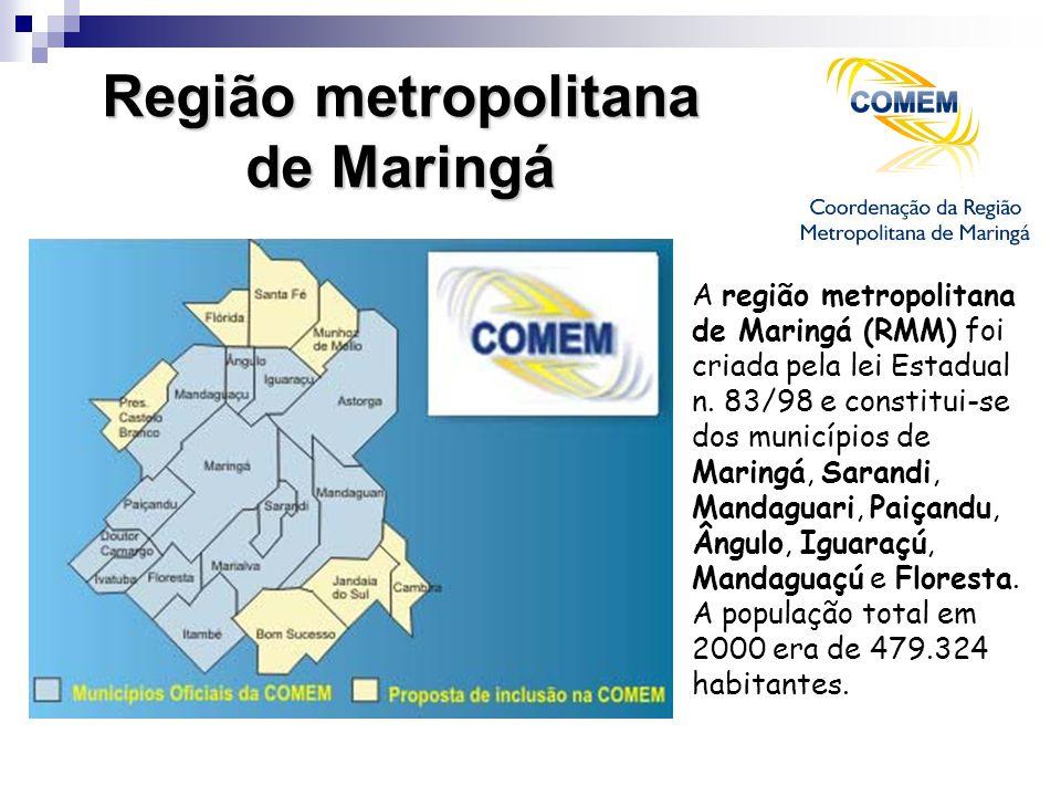 Região metropolitana de Maringá A região metropolitana de Maringá (RMM) foi criada pela lei Estadual n. 83/98 e constitui-se dos municípios de Maringá