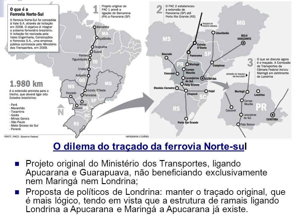 O dilema do traçado da ferrovia Norte-sul Projeto original do Ministério dos Transportes, ligando Apucarana e Guarapuava, não beneficiando exclusivame