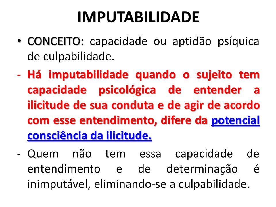 IMPUTABILIDADE CONCEITO: CONCEITO: capacidade ou aptidão psíquica de culpabilidade. -Há imputabilidade quando o sujeito tem capacidade psicológica de