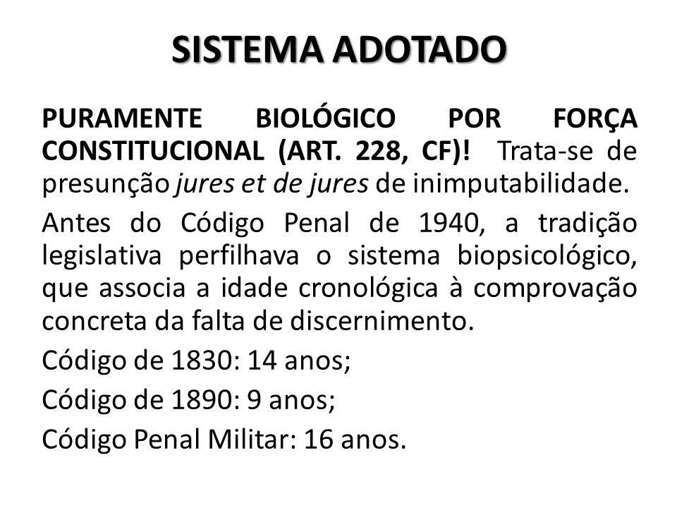 SISTEMA ADOTADO PURAMENTE BIOLÓGICO POR FORÇA CONSTITUCIONAL (ART. 228, CF)! Trata-se de presunção jures et de jures de inimputabilidade. Antes do Cód