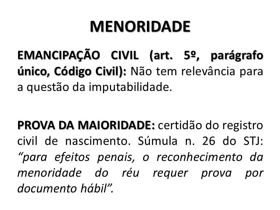 MENORIDADE EMANCIPAÇÃO CIVIL (art. 5º, parágrafo único, Código Civil): EMANCIPAÇÃO CIVIL (art. 5º, parágrafo único, Código Civil): Não tem relevância