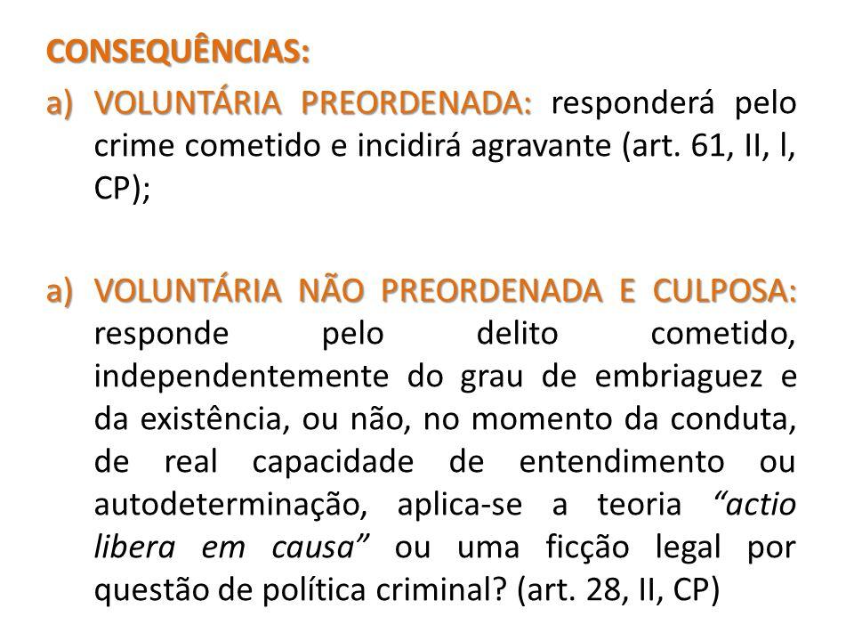 CONSEQUÊNCIAS: a)VOLUNTÁRIA PREORDENADA: a)VOLUNTÁRIA PREORDENADA: responderá pelo crime cometido e incidirá agravante (art. 61, II, l, CP); a)VOLUNTÁ