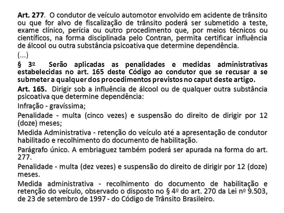 Art. 277O condutor de veículo automotor envolvido em acidente de trânsito ou que for alvo de fiscalização de trânsitopoderá ser submetido a teste, exa