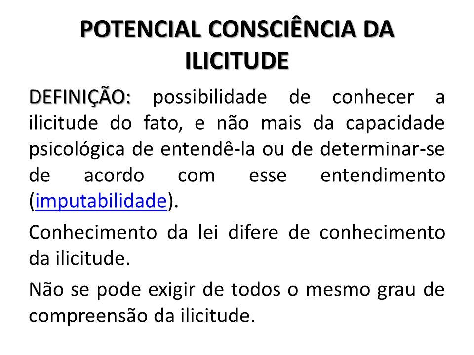 POTENCIAL CONSCIÊNCIA DA ILICITUDE DEFINIÇÃO: DEFINIÇÃO: possibilidade de conhecer a ilicitude do fato, e não mais da capacidade psicológica de entend