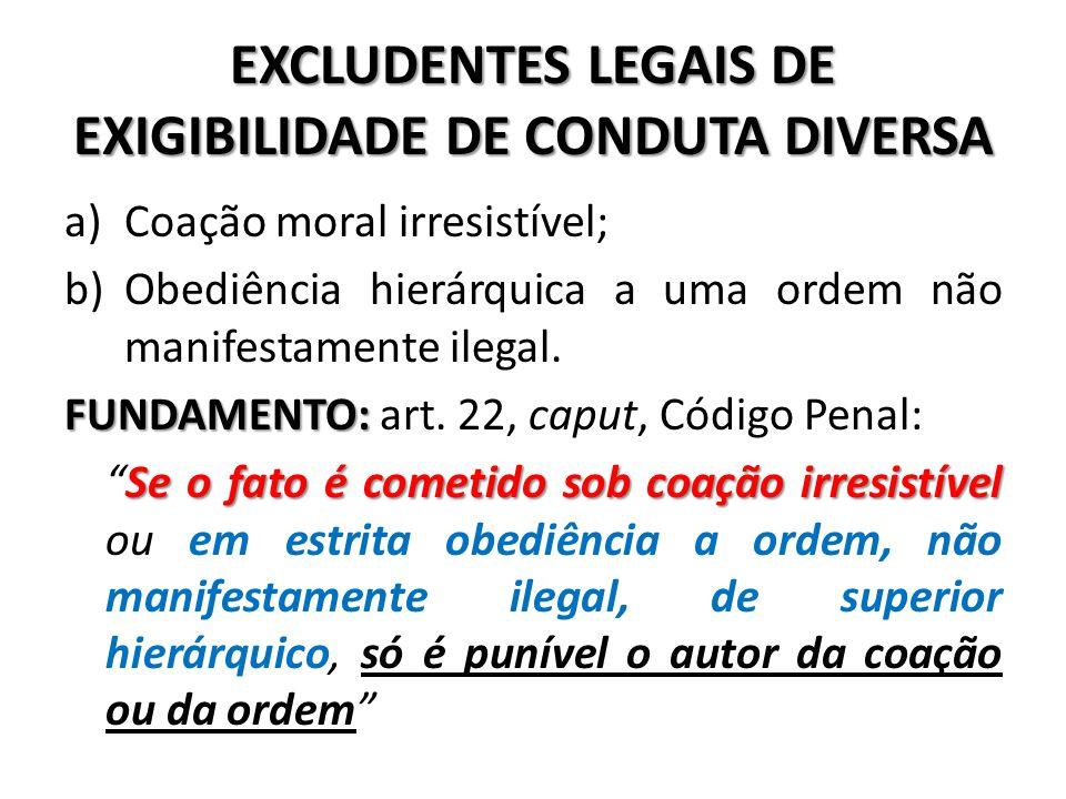 EXCLUDENTES LEGAIS DE EXIGIBILIDADE DE CONDUTA DIVERSA a)Coação moral irresistível; b)Obediência hierárquica a uma ordem não manifestamente ilegal. FU