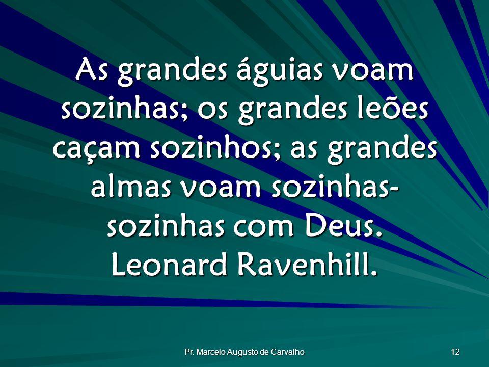 Pr. Marcelo Augusto de Carvalho 12 As grandes águias voam sozinhas; os grandes leões caçam sozinhos; as grandes almas voam sozinhas- sozinhas com Deus