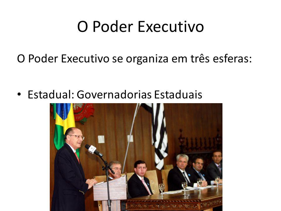 O Poder Executivo O Poder Executivo se organiza em três esferas: Estadual: Governadorias Estaduais