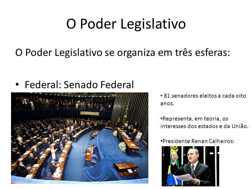 O Poder Legislativo O Poder Legislativo se organiza em três esferas: Federal: Senado Federal 81 senadores eleitos a cada oito anos. Representa, em teo