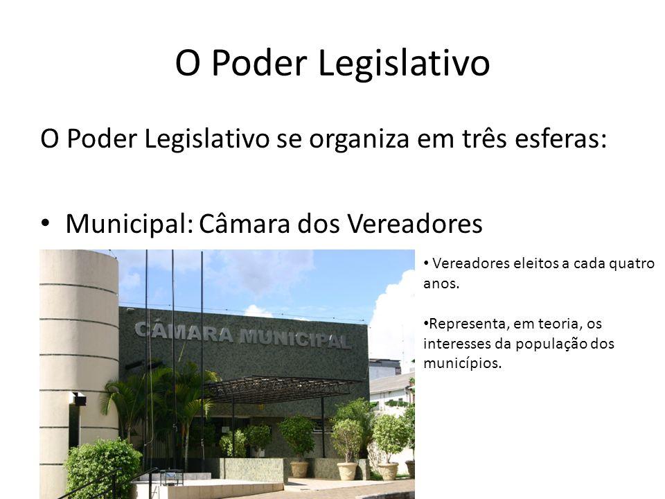O Poder Legislativo O Poder Legislativo se organiza em três esferas: Municipal: Câmara dos Vereadores Vereadores eleitos a cada quatro anos. Represent
