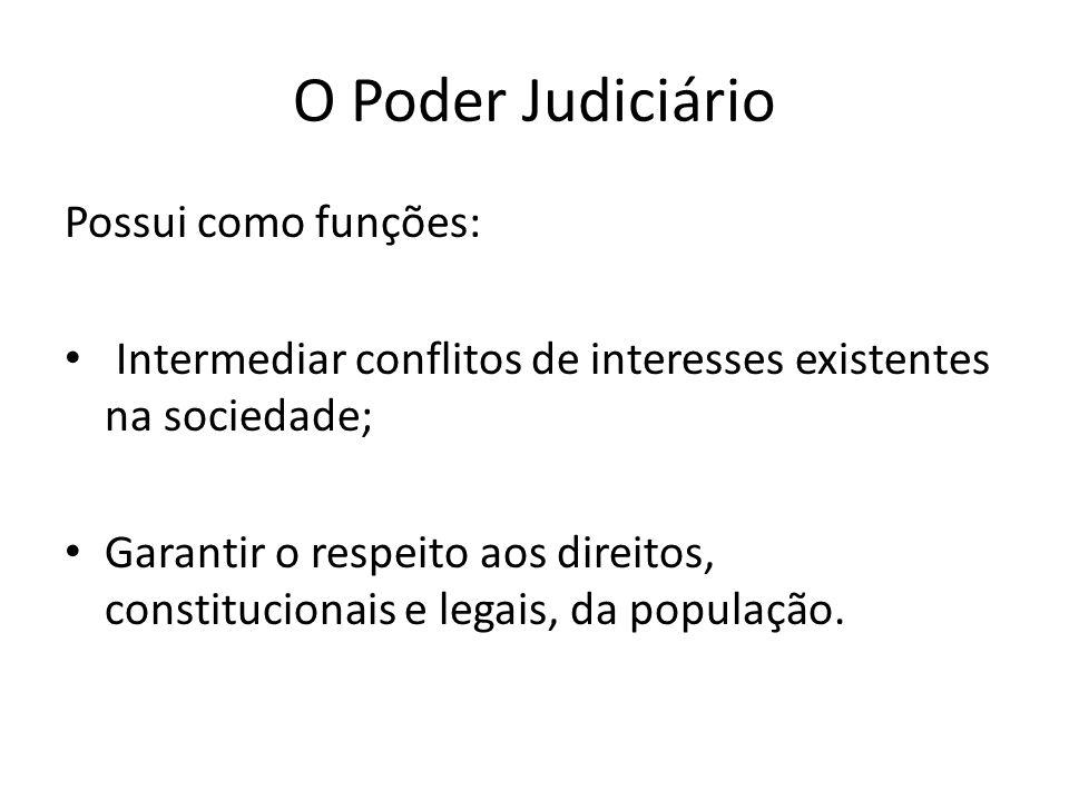 O Poder Judiciário Possui como funções: Intermediar conflitos de interesses existentes na sociedade; Garantir o respeito aos direitos, constitucionais