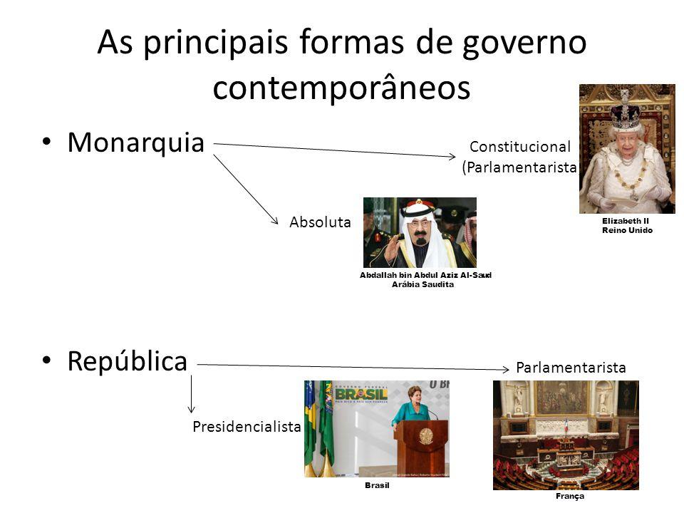As principais formas de governo contemporâneos Monarquia República Absoluta Abdallah bin Abdul Aziz Al-Saud Arábia Saudita Constitucional (Parlamentar
