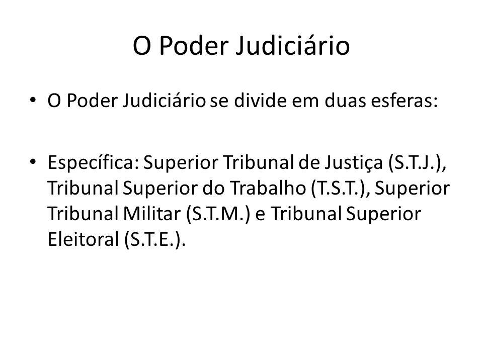 O Poder Judiciário O Poder Judiciário se divide em duas esferas: Específica: Superior Tribunal de Justiça (S.T.J.), Tribunal Superior do Trabalho (T.S