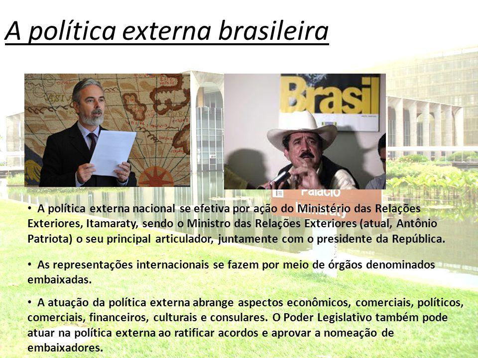 A política externa brasileira A política externa nacional se efetiva por ação do Ministério das Relações Exteriores, Itamaraty, sendo o Ministro das R