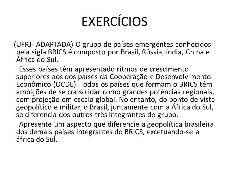 EXERCÍCIOS (UFRJ- ADAPTADA) O grupo de países emergentes conhecidos pela sigla BRICS é composto por Brasil, Rússia, índia, China e África do Sul. Esse