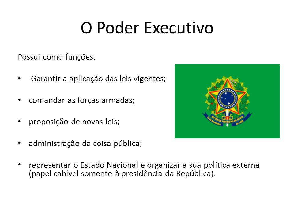 O Poder Executivo Possui como funções: Garantir a aplicação das leis vigentes; comandar as forças armadas; proposição de novas leis; administração da