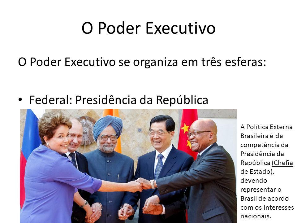 O Poder Executivo O Poder Executivo se organiza em três esferas: Federal: Presidência da República A Política Externa Brasileira é de competência da P