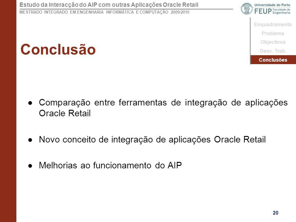 Estudo da Interacção do AIP com outras Aplicações Oracle Retail MESTRADO INTEGRADO EM ENGENHARIA INFORMÁTICA E COMPUTAÇÃO 2009/2010 Conclusão Comparação entre ferramentas de integração de aplicações Oracle Retail Novo conceito de integração de aplicações Oracle Retail Melhorias ao funcionamento do AIP 20 Enquadramento Problema Objectivos Desc.