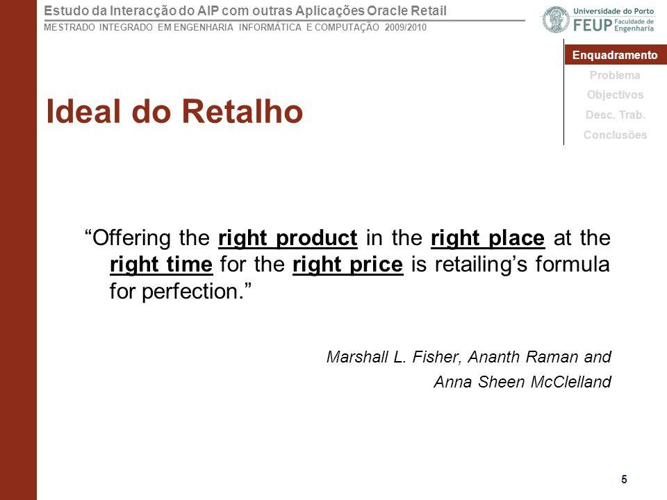 Estudo da Interacção do AIP com outras Aplicações Oracle Retail MESTRADO INTEGRADO EM ENGENHARIA INFORMÁTICA E COMPUTAÇÃO 2009/2010 Ideal do Retalho Offering the right product in the right place at the right time for the right price is retailing's formula for perfection. Marshall L.