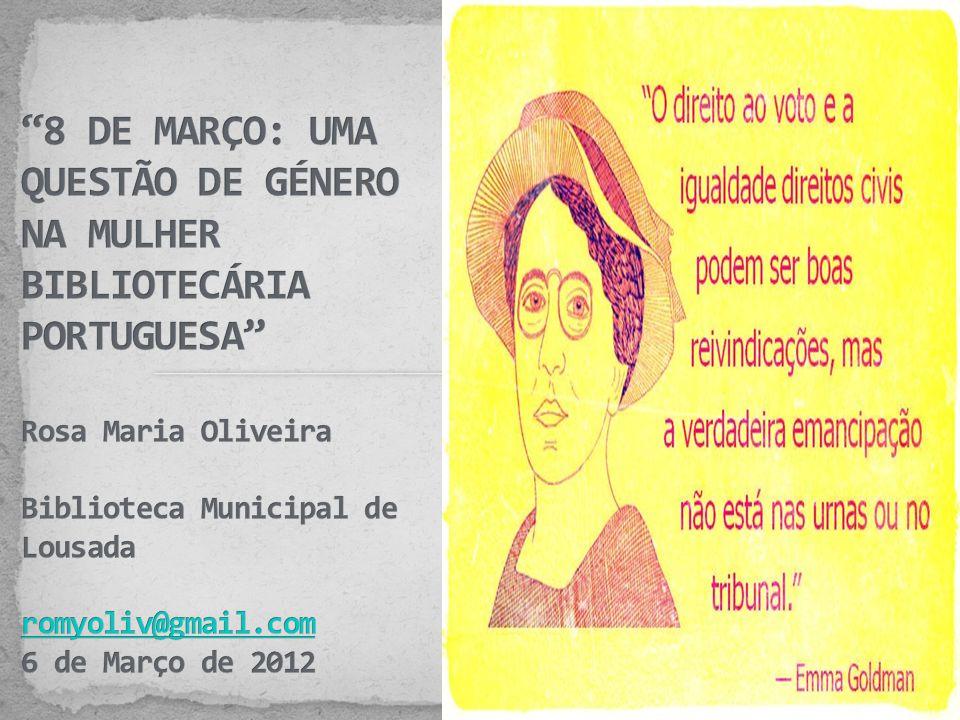 A situação laboral das mulheres nas bibliotecas portuguesas é um tema que me é muito caro pois há xx anos que trabalho em bibliotecas e experienciado e vivido as dúvidas, as incertezas, as esperanças e as alegrias do que é trabalhar de e para a comunidade, do que é ser mulher num contexto de trabalho em que quem dita as regras são os homens (ou mulheres que lhes aprenderam os gestos e as maneiras…).