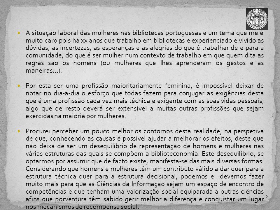 A situação laboral das mulheres nas bibliotecas portuguesas é um tema que me é muito caro pois há xx anos que trabalho em bibliotecas e experienciado