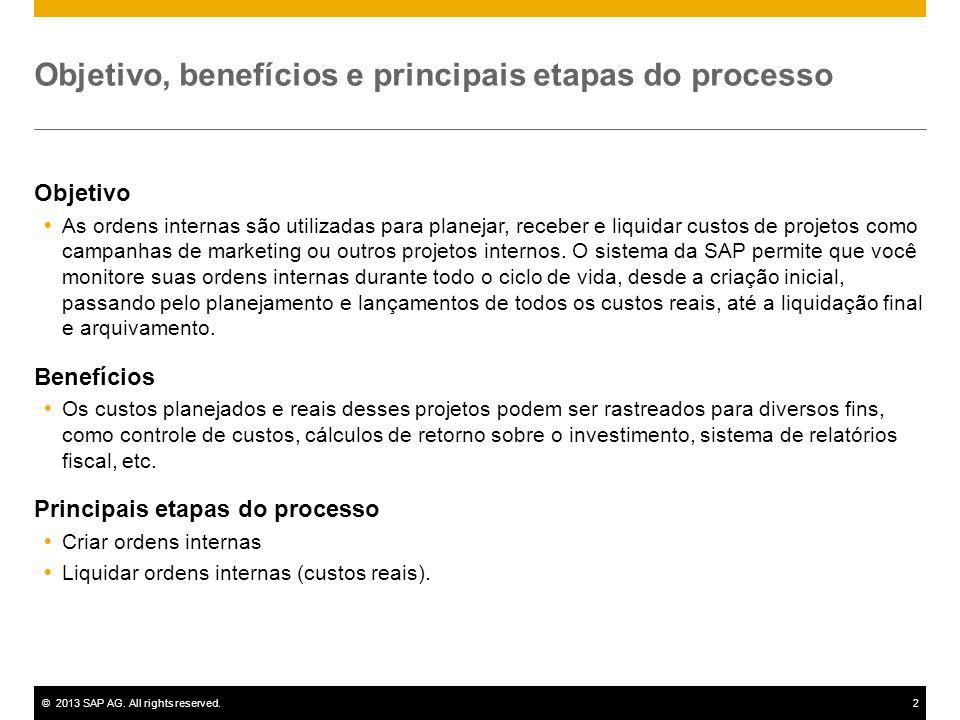 ©2013 SAP AG. All rights reserved.2 Objetivo, benefícios e principais etapas do processo Objetivo  As ordens internas são utilizadas para planejar, r