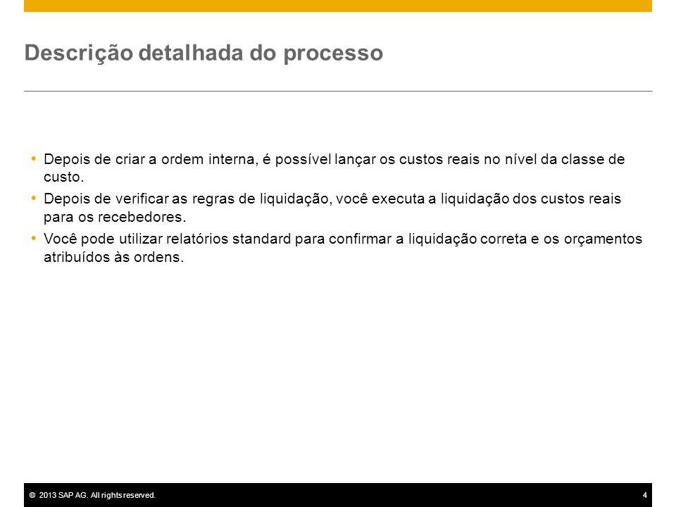 ©2013 SAP AG. All rights reserved.4 Descrição detalhada do processo  Depois de criar a ordem interna, é possível lançar os custos reais no nível da c