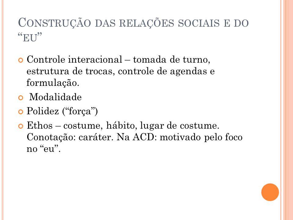 """C ONSTRUÇÃO DAS RELAÇÕES SOCIAIS E DO """" EU """" Controle interacional – tomada de turno, estrutura de trocas, controle de agendas e formulação. Modalidad"""
