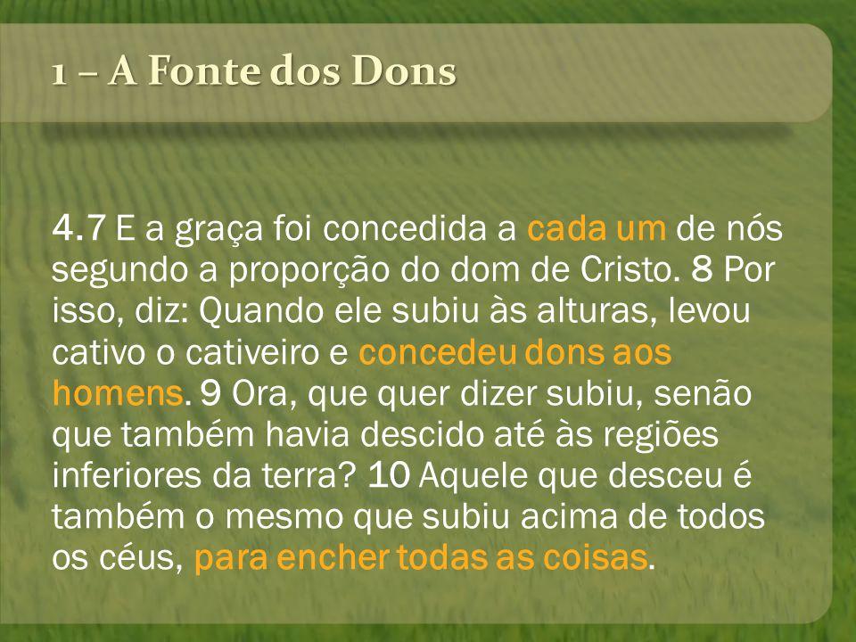 1 – A Fonte dos Dons 4.7 E a graça foi concedida a cada um de nós segundo a proporção do dom de Cristo. 8 Por isso, diz: Quando ele subiu às alturas,