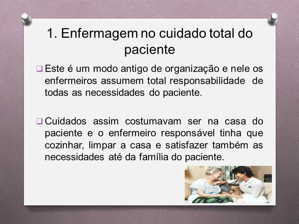 1. Enfermagem no cuidado total do paciente  Este é um modo antigo de organização e nele os enfermeiros assumem total responsabilidade de todas as nec