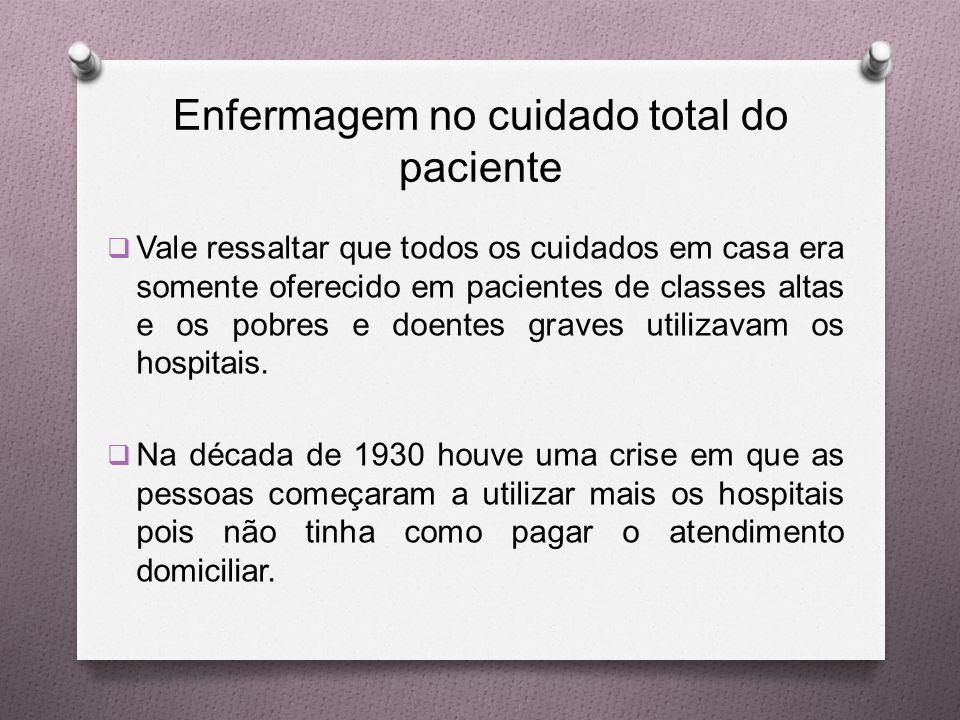 Enfermagem no cuidado total do paciente  Vale ressaltar que todos os cuidados em casa era somente oferecido em pacientes de classes altas e os pobres e doentes graves utilizavam os hospitais.