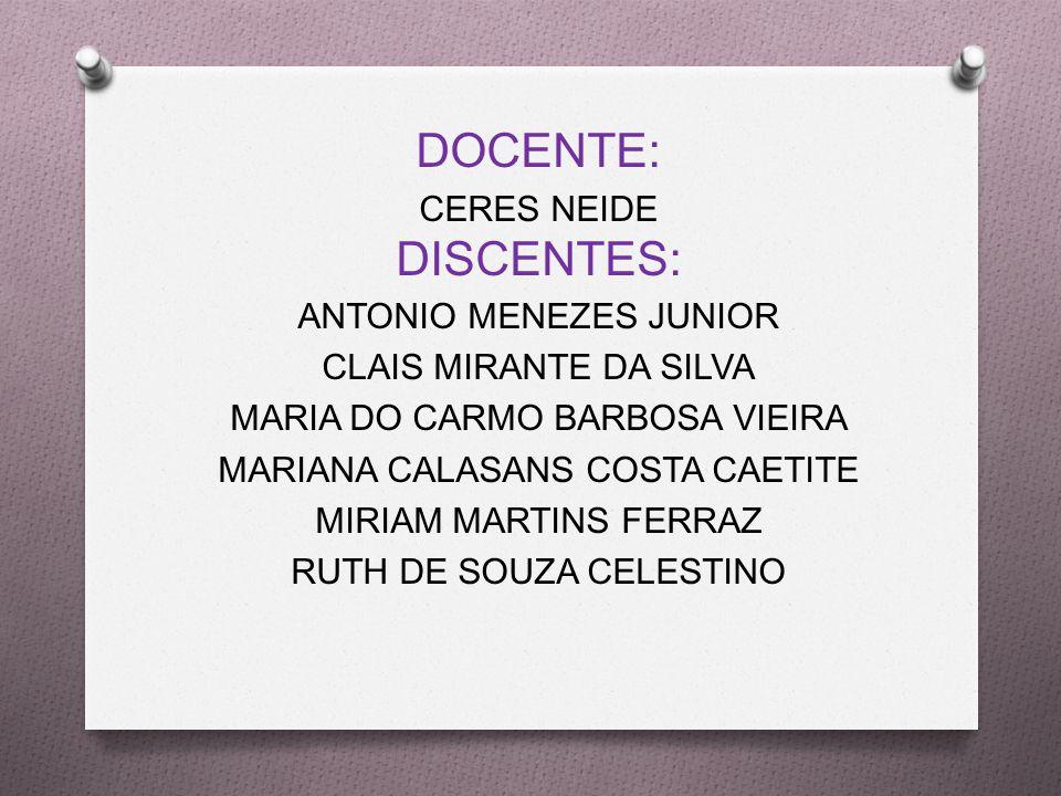 DOCENTE: CERES NEIDE DISCENTES: ANTONIO MENEZES JUNIOR CLAIS MIRANTE DA SILVA MARIA DO CARMO BARBOSA VIEIRA MARIANA CALASANS COSTA CAETITE MIRIAM MARTINS FERRAZ RUTH DE SOUZA CELESTINO