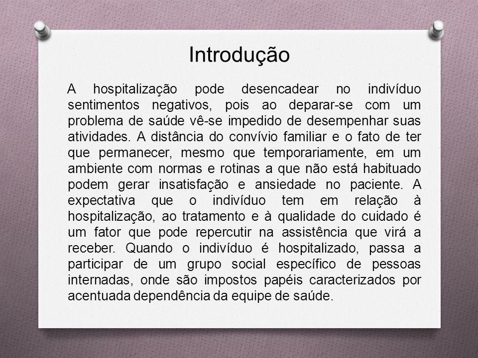 Introdução A hospitalização pode desencadear no indivíduo sentimentos negativos, pois ao deparar-se com um problema de saúde vê-se impedido de desempenhar suas atividades.