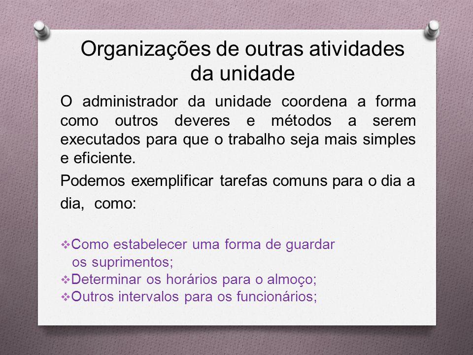 Organizações de outras atividades da unidade O administrador da unidade coordena a forma como outros deveres e métodos a serem executados para que o trabalho seja mais simples e eficiente.