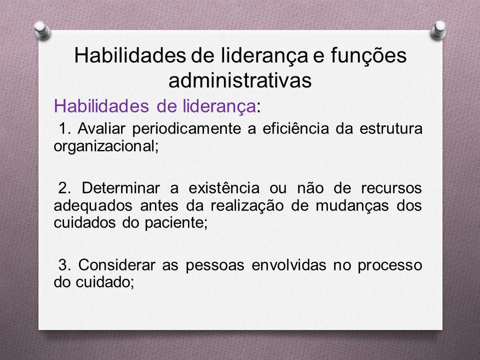 Habilidades de liderança e funções administrativas Habilidades de liderança: 1.