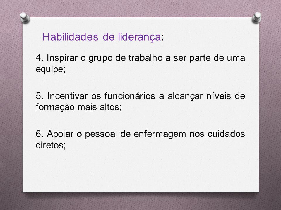 4.Inspirar o grupo de trabalho a ser parte de uma equipe; 5.