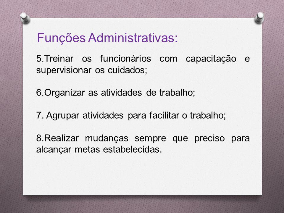 Funções Administrativas: 5.Treinar os funcionários com capacitação e supervisionar os cuidados; 6.Organizar as atividades de trabalho; 7.