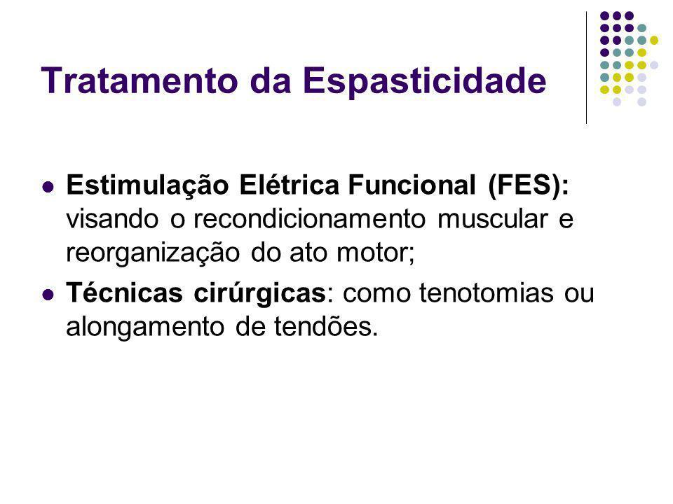 Tratamento da Espasticidade Estimulação Elétrica Funcional (FES): visando o recondicionamento muscular e reorganização do ato motor; Técnicas cirúrgicas: como tenotomias ou alongamento de tendões.