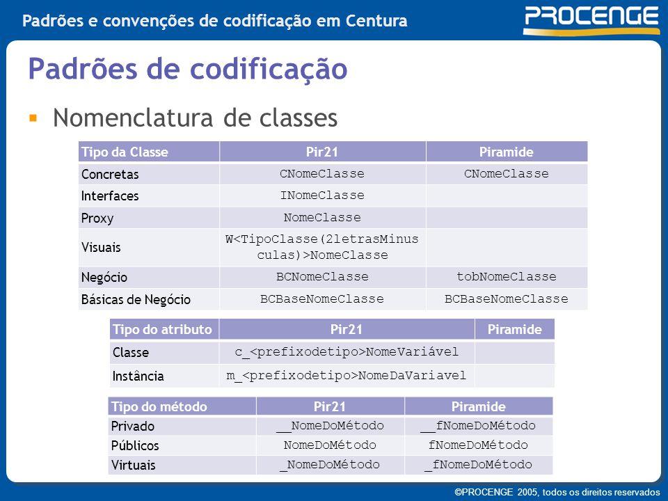 ©PROCENGE 2005, todos os direitos reservados Padrões e convenções de codificação em Centura  Nomenclatura de classes Padrões de codificação Tipo da C