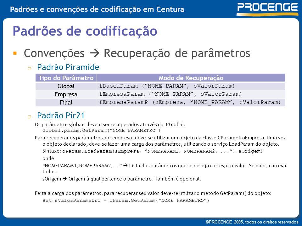 ©PROCENGE 2005, todos os direitos reservados Padrões e convenções de codificação em Centura  Convenções  Recuperação de parâmetros  Padrão Piramide
