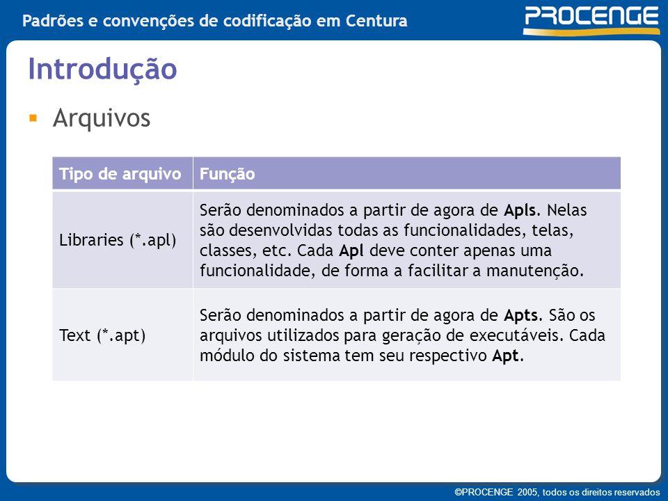 ©PROCENGE 2005, todos os direitos reservados Padrões e convenções de codificação em Centura  Arquivos Introdução Tipo de arquivoFunção Libraries (*.a